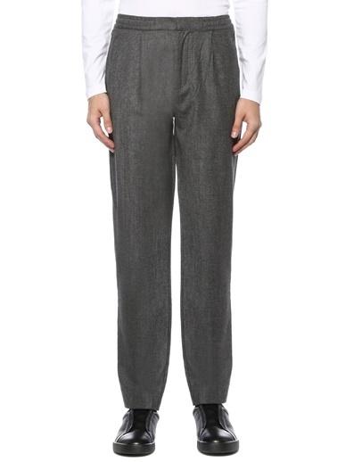Beymen Collection Beymen Collection  Beli Büzgülü Mikro Kareli Pilili Yün Pantolon 101520884 Gri